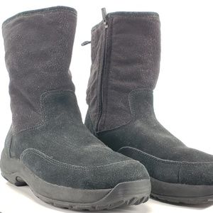 L.L. Bean Black Fleece Boots Side Zip